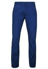 Chiao - Niebieskie Eleganckie, Męskie Spodnie, 100% BAWEŁNA -CHIAO- Chinosy. Kolor: niebieski. Materiał: bawełna. Styl: elegancki