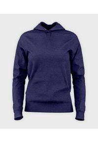 MegaKoszulki - Bluza damska z kapturem taliowana Damska bluza z kapturem taliowana (bez nadruku, gładka) - niebieska. Typ kołnierza: kaptur. Kolor: niebieski. Wzór: gładki