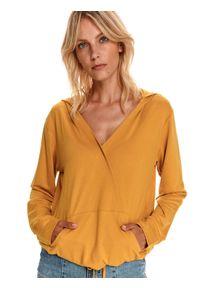 TOP SECRET - Bluza damska kopertowa. Kolor: żółty. Materiał: dzianina. Długość rękawa: długi rękaw. Długość: długie. Sezon: jesień