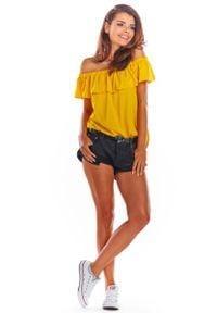 Awama - Żółta Letnia Bluzka z Hiszpańskim Dekoltem. Kolor: żółty. Materiał: elastan, wiskoza. Sezon: lato