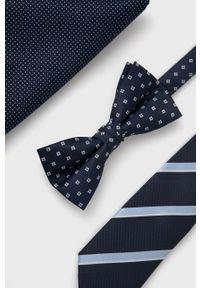 Jack & Jones - Zestaw krawat, mucha i poszetka. Kolor: niebieski. Materiał: materiał, poliester