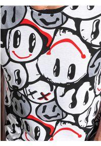 Ombre Clothing - T-shirt męski z nadrukiem S1414 - biały/czerwony - XXL. Kolor: czerwony. Materiał: jeans, bawełna, poliester. Wzór: nadruk