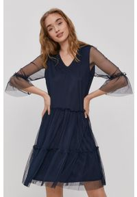 Vila - Sukienka. Kolor: niebieski. Materiał: tkanina. Wzór: gładki. Typ sukienki: rozkloszowane