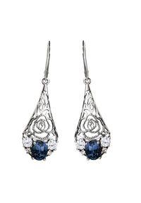 Polcarat Design - Srebrne oksydowane kolczyki z kryształami Swarovski K 2057. Materiał: srebrne. Kolor: srebrny. Kamień szlachetny: kryształ