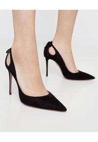 AQUAZZURA - Czarne szpilki Forever Marilyn. Kolor: czarny. Materiał: zamsz. Obcas: na szpilce. Styl: elegancki, klasyczny. Wysokość obcasa: średni