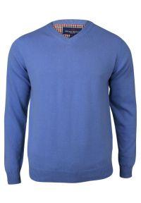 Niebieski sweter Adriano Guinari z dekoltem w kształcie v, elegancki