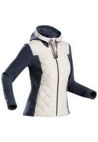 quechua - Bluza turystyczna - NH100 hybrydowa - damska. Kolor: wielokolorowy, niebieski, beżowy. Materiał: materiał, dzianina, tkanina, poliester, włókno, polar