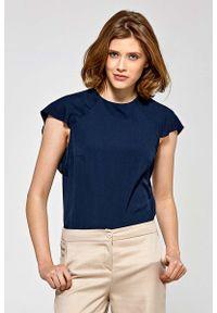 Niebieska bluzka Nife z falbankami, elegancka