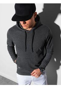 Ombre Clothing - Bluza męska z kapturem B1154 - grafitowy melanż - XXL. Typ kołnierza: kaptur. Kolor: szary. Materiał: poliester, bawełna. Wzór: melanż
