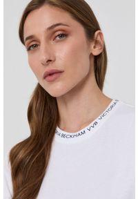 Victoria Victoria Beckham - T-shirt bawełniany. Okazja: na co dzień. Kolor: biały. Materiał: bawełna. Wzór: nadruk. Styl: casual