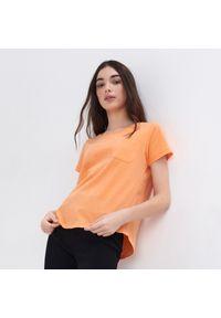Pomarańczowy t-shirt Sinsay