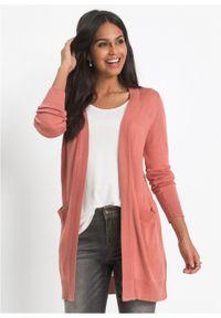 Różowy sweter bonprix w prążki, długi