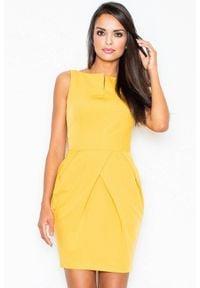 Figl - Elegancka sukienka tulipan z efektownymi zakładkami żółta. Kolor: żółty. Typ sukienki: tulipan. Styl: elegancki