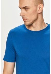 Jack & Jones - T-shirt. Okazja: na co dzień. Kolor: niebieski. Materiał: dzianina, bawełna. Wzór: gładki. Styl: casual #1