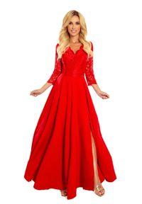 Numoco - Długa Rozkloszowana Sukienka z Koronką - Czerwona. Kolor: czerwony. Materiał: koronka. Wzór: koronka. Długość: maxi