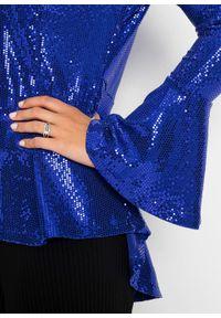 Niebieska bluzka bonprix długa, z dekoltem w serek