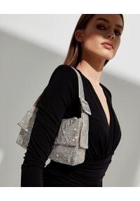 BENEDETTA BRUZZICHES - Kryształowa torebka na ramię Monique Small Light Gold. Kolor: srebrny. Rodzaj torebki: na ramię