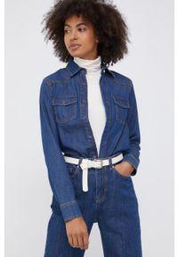 United Colors of Benetton - Koszula jeansowa. Okazja: na co dzień. Kolor: niebieski. Materiał: jeans. Długość rękawa: długi rękaw. Długość: długie. Styl: casual