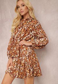 Renee - Brązowa Sukienka Delis. Kolor: brązowy. Długość rękawa: długi rękaw. Wzór: jednolity, gładki. Typ sukienki: koszulowe, rozkloszowane. Styl: elegancki. Długość: mini