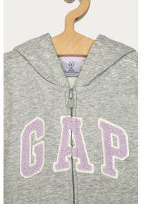 Szara bluza rozpinana GAP na co dzień, z kapturem, z aplikacjami