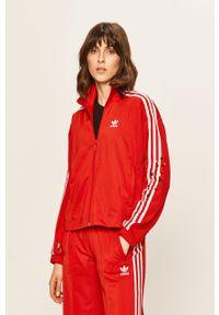 Czerwona bluza rozpinana adidas Originals bez kaptura, z aplikacjami