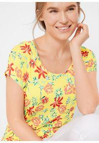 Shirt z przeszyciem cienkimi gumkami w dolnej części bonprix Shirt j.limonka kw. Kolor: żółty. Wzór: kwiaty