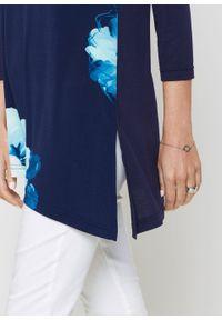 Niebieska bluzka bonprix z nadrukiem, długa