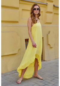 Żółta sukienka Makadamia maxi, asymetryczna, na ramiączkach