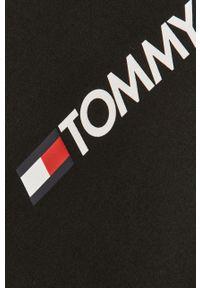 Czarny t-shirt Tommy Sport na co dzień, z nadrukiem, sportowy, raglanowy rękaw