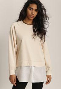 Renee - Jasnobeżowa Bluza Ilelaira. Kolor: beżowy. Materiał: jeans. Długość rękawa: raglanowy rękaw. Długość: długie