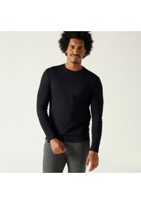 DOMYOS - Koszulka z długim rękawem fitness. Kolor: czarny. Materiał: bawełna, materiał. Długość rękawa: długi rękaw. Długość: długie. Sport: fitness