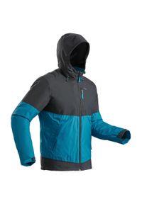 quechua - Kurtka turystyczna zimowa męska Quechua SH100 X-WARM WTP -10°C. Kolor: turkusowy, niebieski, wielokolorowy, szary. Materiał: polar, materiał. Sezon: zima