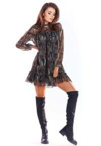 Awama - Luźna Mini Sukienka z Wzorzystego Szyfonu z Falbankami - Wzór 3. Typ kołnierza: kołnierz z falbankami. Materiał: szyfon. Długość: mini