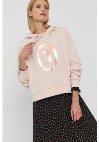 Trussardi Jeans - Trussardi - Bluza bawełniana. Kolor: beżowy. Materiał: bawełna. Długość rękawa: długi rękaw. Długość: długie. Wzór: nadruk