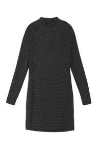 Czarna sukienka TOP SECRET na imprezę, w kolorowe wzory, z krótkim rękawem, elegancka