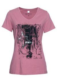 T-shirt bonprix jeżynowy sorbetowy - czarny. Kolor: fioletowy. Styl: elegancki