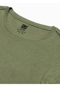 Ombre Clothing - T-shirt męski bawełniany z nadrukiem S1387 - oliwkowy - XXL. Kolor: oliwkowy. Materiał: bawełna. Wzór: nadruk