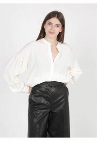TwinSet - Jedwabna biała koszula Twinset. Kolor: biały. Materiał: jedwab. Długość rękawa: długi rękaw. Długość: długie