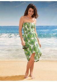 Sukienka plażowa bonprix biało-zielony w roślinny wzór. Okazja: na plażę. Kolor: biały. Wzór: nadruk