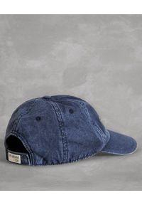 FAY - Jeansowa czapka z daszkiem. Kolor: niebieski. Materiał: jeans. Wzór: haft, aplikacja