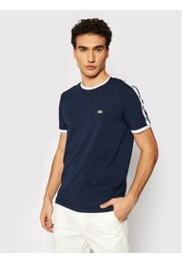 Lacoste T-Shirt TH0146 Granatowy Slim Fit. Kolor: niebieski