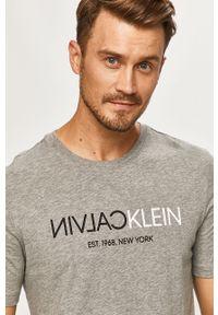 Szary t-shirt Calvin Klein z okrągłym kołnierzem, na co dzień, z nadrukiem, casualowy
