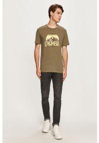 Oliwkowy t-shirt columbia na co dzień, z nadrukiem, casualowy