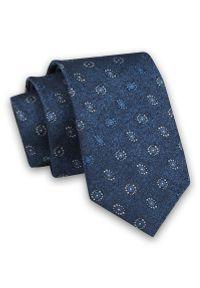 Niebieski Elegancki Męski Krawat -Angelo di Monti- 6 cm, Wzór Geometryczny, Kółka, Okręgi, Koła. Kolor: niebieski. Materiał: tkanina. Wzór: geometria. Styl: elegancki
