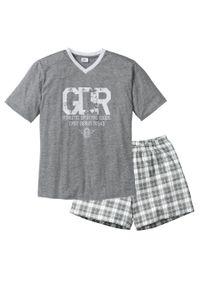 Piżama z krótkimi spodenkami bonprix szary melanż + biały. Kolor: szary. Długość: krótkie. Wzór: melanż