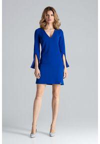 Figl - Niebieska Sukienka Koktajlowa Mini z Rozciętym Rękawem. Kolor: niebieski. Materiał: wiskoza, poliester. Styl: wizytowy. Długość: mini