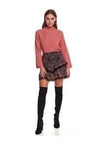 TOP SECRET - Tkaninowa spódniczka mini we wzory wykończona koronką. Okazja: na co dzień. Kolor: czarny. Materiał: tkanina, koronka. Wzór: koronka. Sezon: zima. Styl: casual