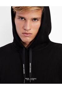 Armani Exchange - ARMANI EXCHANGE - Czarna bluza z kapturem. Typ kołnierza: kaptur. Kolor: czarny. Materiał: jeans, bawełna. Styl: klasyczny