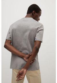 Szary t-shirt Mango Man z okrągłym kołnierzem