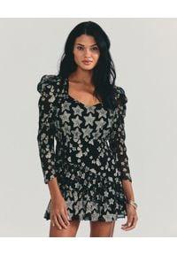 LOVE SHACK FANCY - Czarna sukienka w gwiazdki Caden. Okazja: na imprezę. Kolor: czarny. Materiał: jedwab. Wzór: aplikacja